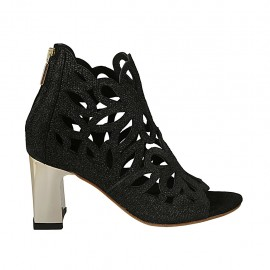 Woman's open shoe with zipper in black pierced glittered printed suede heel 7 - Available sizes:  32, 33, 34, 43, 44, 45, 46