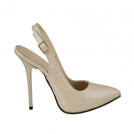 Woman's slingback pump with platform in pearly nude leather heel 12 - Available sizes:  32, 33, 34, 43, 44, 45, 46, 47
