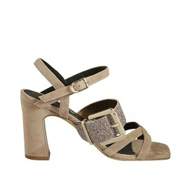 Woman's strap sandal with multicolored glittered buckle in taupe suede heel 8 - Available sizes:  32, 33, 34, 42, 43, 44, 45, 46