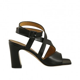 Woman's sandal with anklestrap in black leather heel 8 - Available sizes:  33, 34, 42, 43, 44, 46