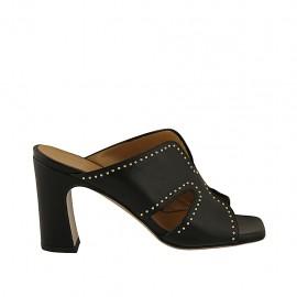 Mule ouvert pour femmes avec goujons en cuir noir talon 8 - Pointures disponibles:  32, 33, 34, 42, 43, 44, 45, 46