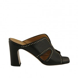 Woman's open mules with studs in black leather heel 8 - Available sizes:  32, 33, 42