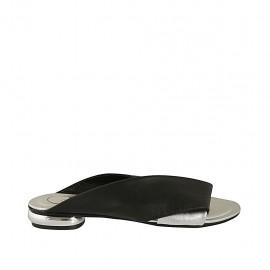 Offene Damenpantoletten aus schwarzem und silbernem Leder Absatz 1 - Verfügbare Größen:  33, 34, 42, 43, 44