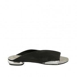 Woman's open mules in black and silver leather heel 1 - Available sizes:  33, 34