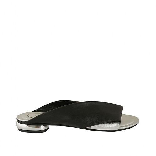 Woman's open mules in black and silver leather heel 1 - Available sizes:  33, 34, 43, 44