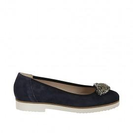 Zapato de salon con piedras para mujer en gamuza azul tacon 2 - Tallas disponibles:  32, 33, 34, 42, 43, 44