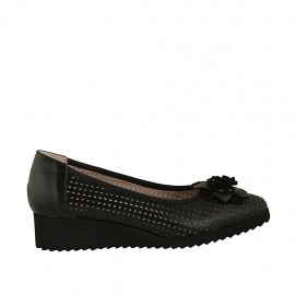 Zapato de salon con moño para mujer en piel y piel perforada negra cuña 3 - Tallas disponibles:  32, 33, 34, 42, 43, 44, 45