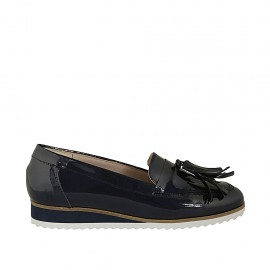 Woman's mocassin with tassels in blue patent leather wedge heel 2 - Available sizes:  32, 33, 34, 43, 44, 45
