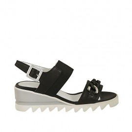 Woman's sandal with elastic band and chain in black leather wedge heel 5 - Available sizes:  32, 33, 34, 42, 43, 44, 45