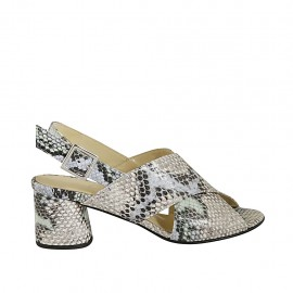 Woman's sandal in multicolored printed leather heel 5 - Available sizes:  32, 33, 34, 42, 43, 44, 45