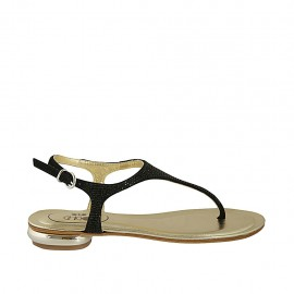 Woman's thong sandal with rhinestones in black suede heel 1 - Available sizes:  33, 34, 42, 43, 44, 45