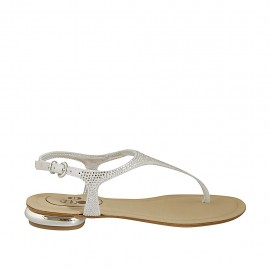 Woman's thong sandal with rhinestones in white suede heel 1 - Available sizes:  33, 34, 42, 43, 44, 45