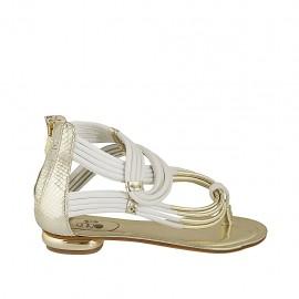 Offener Zehenschuh für Damen mit Reißverschluss aus weissem, platinfarbenem und -bedrucktem Leder Absatz 1 - Verfügbare Größen:  33, 34, 42, 43, 44, 45