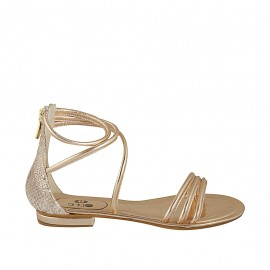 Woman's open shoe with zipper in copper laminated and printed leather heel 1 - Available sizes:  33, 42, 43, 44