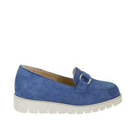Woman's mocassin with accessory and removable insole in light blue suede wedge heel 3 - Available sizes:  33, 34, 42, 43, 44, 45
