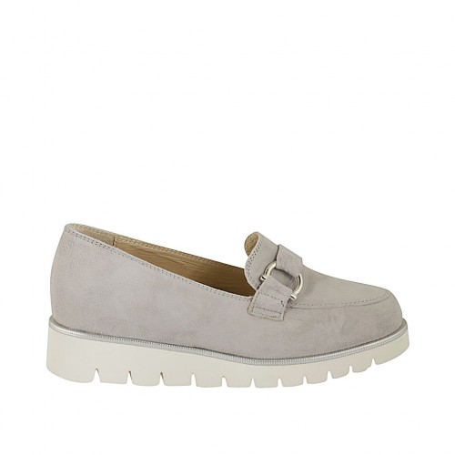 Woman's mocassin with accessory and removable insole in grey suede wedge heel 3 - Available sizes:  32, 33, 42, 43, 44, 45