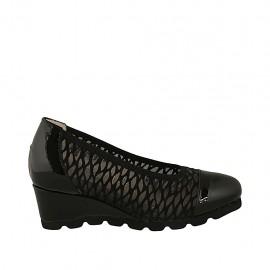 Zapato de salon para mujer en tejido transparente y charol negro con plantilla extraible cuña 5 - Tallas disponibles:  32, 33, 34, 42, 43, 44, 45