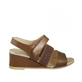 Woman's sandal with glittered elastic band and velcro strap in coppery brown laminated leather wedge heel 5 - Available sizes:  32, 33, 34, 42, 43, 44, 45