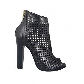 Zapato abierto en punta para mujer con plataforma y cremallera en piel y piel perforada negra tacon 11 - Tallas disponibles:  32, 33, 34, 42, 43, 44, 45, 46