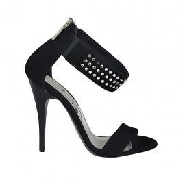 Zapato abierto con estras, elastico y cremallera en gamuza negra tacon 11 - Tallas disponibles:  32, 33, 34, 42, 43, 44, 45, 46, 47