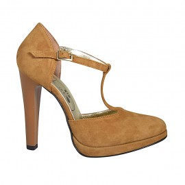 Woman's open shoe with platform and t-strap in tan-colored suede heel 11 - Available sizes:  33, 34, 42, 43