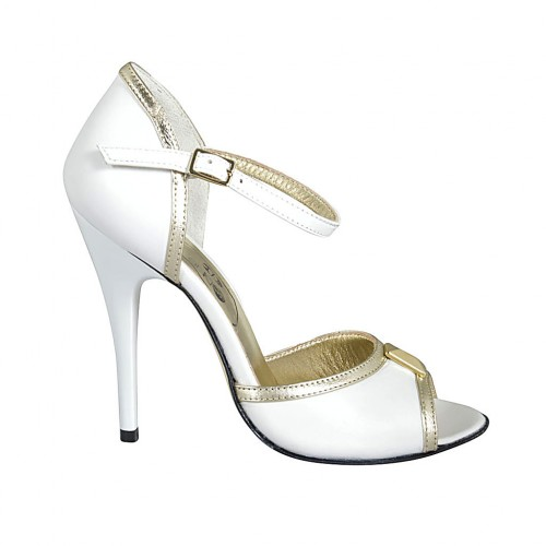 Woman's open shoe with strap and accessory in white leather and platinum laminated leather heel 11 - Available sizes:  33, 34, 42, 43, 45, 46, 47