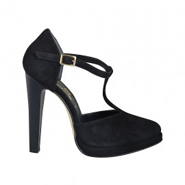 Woman's open shoe with platform and t-strap in black suede heel 11 - Available sizes:  33, 34, 42, 43, 44, 45, 46