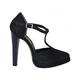 ?Zapato abierto para mujer con cinturon salomé y plataforma en gamuza negra tacon 11 - Tallas disponibles:  33, 34, 42, 43, 44, 45, 46