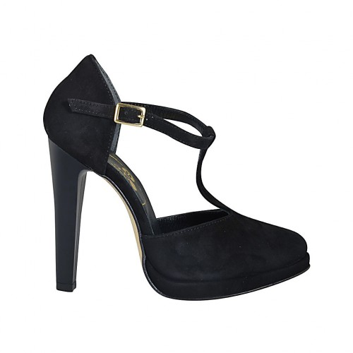 Woman's open shoe with platform and t-strap in black suede heel 11 - Available sizes:  32, 33, 34, 42, 43, 44, 45, 46, 47