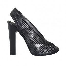 Sandalia para mujer con plataforma en piel perforada negra tacon 11 - Tallas disponibles:  32, 33, 34, 42, 43, 44