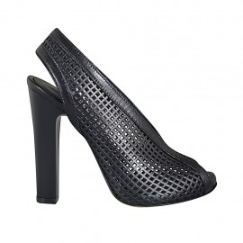 Woman's sandal with platform in black pierced leather heel 11 - Available sizes:  32, 33, 34, 42, 43, 44, 47