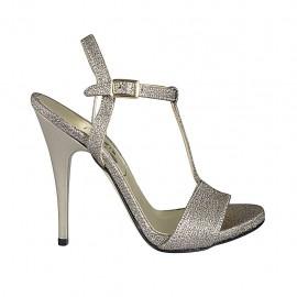 Sandalia para mujer con cinturon y plataforma en tejido brillante platino tacon 11 - Tallas disponibles:  32, 33, 34, 42, 43, 44, 45, 46, 47