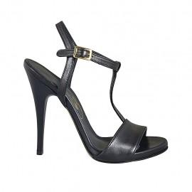 Sandalia para mujer con plataforma y cinturon en piel negra tacon 11 - Tallas disponibles:  32, 33, 34, 42, 44, 45, 46, 47