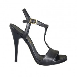 Woman's platform sandal with strap in black leather heel 11 - Available sizes:  32, 33, 34, 42, 44, 45, 46, 47