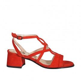 Sandalia para mujer en gamuza roja con cinturon tacon 4 - Tallas disponibles:  32, 33, 34, 42, 43, 44, 45, 46