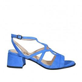 Sandalia con cinturon para mujer en gamuza azul tacon 4 - Tallas disponibles:  32, 33, 34, 42, 43, 44, 45, 46