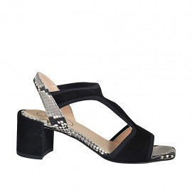 Woman's sandal with elastic band in black suede and printed leather heel 6 - Available sizes:  32, 33, 34, 42, 43, 44, 45, 46
