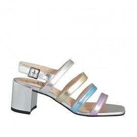 ?Sandalia para mujer en piel laminada plateada, platino, azul claro y rosa tacon 6 - Tallas disponibles:  32, 33, 34, 42, 43, 44, 45, 46