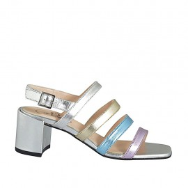 Woman's sandal in silver, platinum, light blue and rose laminated leather heel 6 - Available sizes:  32, 33, 34, 42, 43, 44, 45, 46