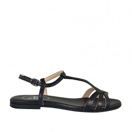 Woman's sandal in black leather heel 1 - Available sizes:  33, 34, 42, 43, 44, 45