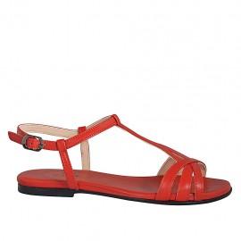 Sandalo da donna in pelle rossa tacco 1 - Misure disponibili: 33, 34, 42, 43, 44, 45, 46
