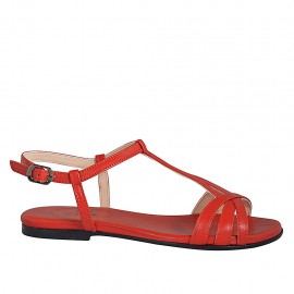 Woman's sandal in red leather heel 1 - Available sizes:  33, 34, 42, 43, 44, 45, 46