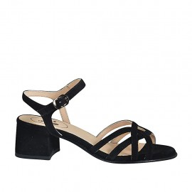 Woman's sandal with strap in black suede heel 4 - Available sizes:  32, 33, 34, 42, 43, 44, 45, 46