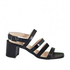 Sandalia para mujer en piel, piel estampada, charol y gamuza negra tacon 6 - Tallas disponibles:  32, 33, 34, 42, 43, 44, 45, 46