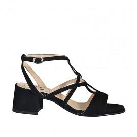 Sandalia para mujer en gamuza negra con correa al tobillo tacon 4 - Tallas disponibles:  32, 33, 34, 42, 43, 44, 45, 46