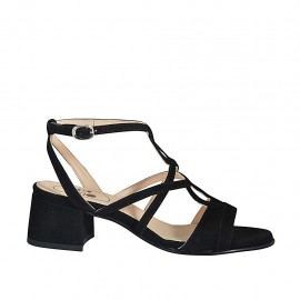 Sandalo da donna in camoscio nero con cinturino alla caviglia tacco 4 - Misure disponibili: 32, 33, 34, 42, 43, 44, 45, 46