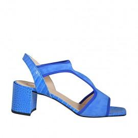 ?Sandalia para mujer con elastico en gamuza y piel estampada azul tacon 7 - Tallas disponibles:  42, 43, 44, 45, 46
