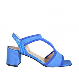 ?Woman's sandal with elastic band in blue suede and printed leather heel 6 - Available sizes:  32, 33, 34