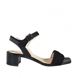 Woman's strap sandal in black suede and printed leather heel 4 - Available sizes:  32, 33, 34, 43, 44, 45, 46