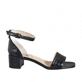 Offener Damenschuh mit Knöchelriemen aus schwarzem bedrucktem Leder Absatz 4 - Verfügbare Größen:  32, 33, 34, 42, 43, 44, 45, 46